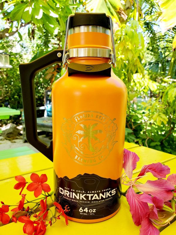64oz orange drink tank with logo